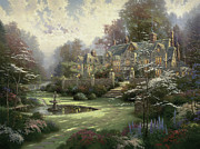 Gate Paintings - Gardens Beyond Spring Gate by Thomas Kinkade