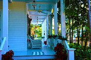 Homey Posters - Gardens Hotel Porch in Key West Poster by Susanne Van Hulst