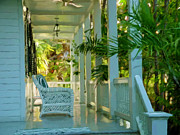 Key West Paintings - Gardens Porch in Key West by David  Van Hulst