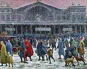 Wintry Posters - Gare de lEst Under Snow Poster by Maximilien Luce
