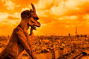 Gargoyles Framed Prints - Gargoyle Guardian of Paris Framed Print by Mark E Tisdale