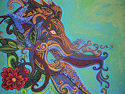 Contemporary Animal  Acrylic Paintings - Gargoyle Lion by Genevieve Esson