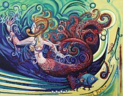 Marine Paintings - Gargoyle Mermaid by Genevieve Esson