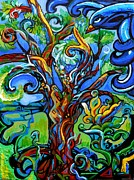 Genevieve Paintings - Gargoyle Tree With Crow by Genevieve Esson