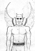 Gargoyle Drawings - Gargoyle Two by Jeff Ermoian