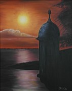 Old San Juan Painting Metal Prints - Garita Del Diablo At Dusk Metal Print by Maurice Dilan