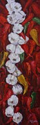 Chili Peppers Painting Originals - Garlic and Chili Peppers by Kathy Houghton