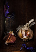 Artistic Art - Garlic and the last breath of a flower by Constance Fein Harding