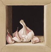 Objects Paintings - Garlic by Jenny Barron