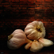 Fruit Still Life Digital Art Posters - Garlic Poster by Lourry Legarde