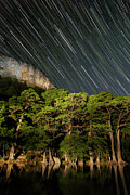 Startrails Photo Prints - Garner State Park 2AM-115920-115980 stackedImage2b Print by Andrew McInnes