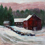 Red Barn. New England Prints - Garnet Barn Print by Nancy Angelini Crawford