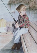Kathy Morris Paintings - Garrett Fishing by Kathy Morris