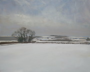 Snowscape Painting Metal Prints - Garrowby Hill Metal Print by Malcolm Ludvigsen