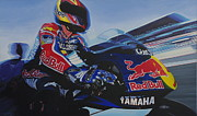 Motorcycle Racing Art Painting Framed Prints - Garry McCoy - MotoGP Framed Print by Jeff Taylor