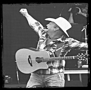 Bouncer Posters - Garth Brooks - Black and White - Black Frame Poster by Carolyn Pettijohn