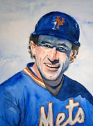 Baseball Painting Metal Prints - Gary Carter Metal Print by Brian Degnon