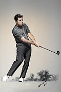 Famous Golfers Framed Prints - Gary Player Framed Print by Mark Robinson