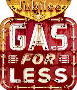 Road Sign Paintings - Gas For Less by David Lloyd Glover