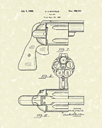 Pistol Drawings Posters - Gas Gun 1936 Patent Art Poster by Prior Art Design