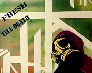 Stripe.paint Posters - Gas Mask Goon  Poster by Dien Holland