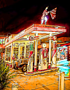 Oil Pumps Prints - Gas Station Print by Chuck Staley