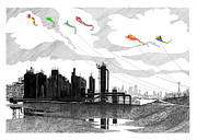 Lake Drawings Framed Prints - Gas Works Park Seattle Kite flying  Framed Print by Jack Pumphrey