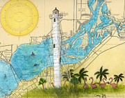 Flamingos Paintings - Gasparilla Island Rear Range Lighthouse FL Nautical Chart Map Art by Cathy Peek