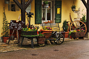 Wine-press Photos - Gast Haus Display in Rothenburg Germany by Greg Matchick