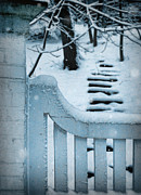 Wooden Stairs Posters - Gate and Steps in Snow Poster by Jill Battaglia