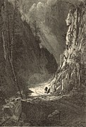 Mountain Road Drawings Framed Prints - Gate of the Crawford Notch 1872 Engraving Framed Print by Antique Engravings