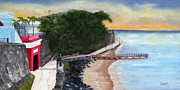 Puerto Rico Painting Posters - Gate to Old San Juan Poster by Gloria E Barreto-Rodriguez