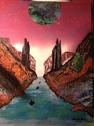 Outer Space Painting Framed Prints - Gates of Atlantis Framed Print by Michael Rucker