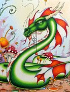 Magic Mushrooms Posters - Gateway Dragon Poster by Robert Ball