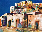 Colorful Native American Framed Prints - Gateway Into  The  Pueblo Framed Print by Frances Marino
