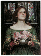 Portrait With Still Life Prints - Gather Ye Rosebuds While Ye May Print by J W Waterhouse