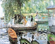 Boats In Water Paintings - Gathering by Claude Monet