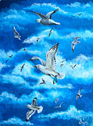 Flock Of Bird Paintings - Gathering of Gulls by Jim Bowers