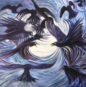Flock Of Birds Painting Metal Prints - Gathering of the Ravens Metal Print by Caroline Street
