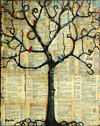 Birds Mixed Media Metal Prints - Gathering Place Winter Tree Metal Print by Blenda Tyvoll