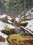 Snowy Stream Paintings - Gathering by Scott Harding