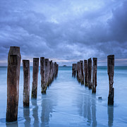 Menacing Prints - Gathering Storm Clouds Over Old Jetty Print by Colin and Linda McKie