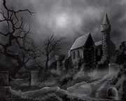 Horror Castle Prints - Gathlumas Castle Print by James Christopher Hill