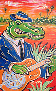 Angel Blues  Painting Framed Prints - Gator Boogie Framed Print by Robert Ponzio