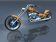 Gator Prints - Gator Panhead Chopper Print by Louis Ferreira