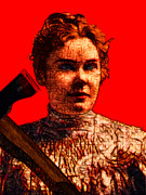 Lizzie Bordon Posters - Gave Her Father Forty Whacks - Red Poster by Wingsdomain Art and Photography