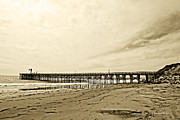 Gaviota Pier In Morning Sepia Tone Print by Artist and Photographer Laura Wrede