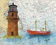 East Coast Lighthouse Paintings - Gay Head Lighthouse MA Nautical Chart Map art Cathy Peek by Cathy Peek