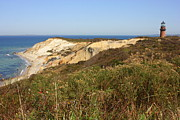 Gay Head Lighthouse With Aquinnah Beach Cliffs Print by Carol Groenen