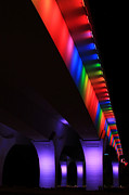 Twin Cities Prints - Gay Pride Lights on 35W Bridge Print by Heidi Hermes